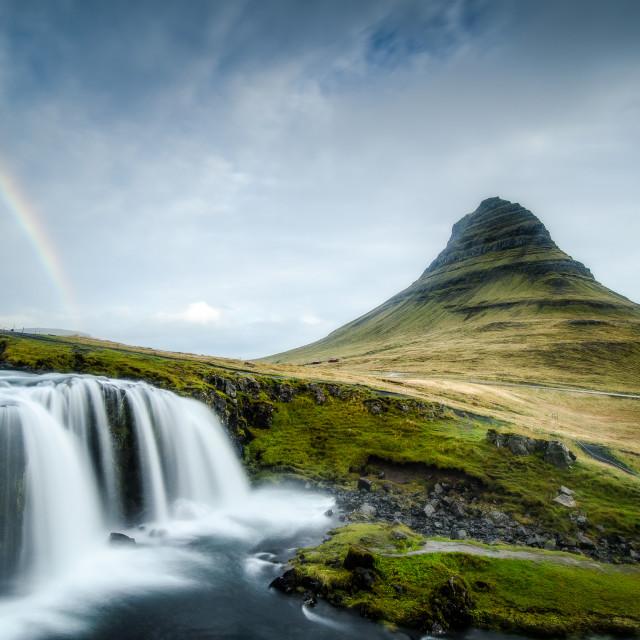 """Rainbow over Kirkjufell and Kirkjufoss, Iceland"" stock image"