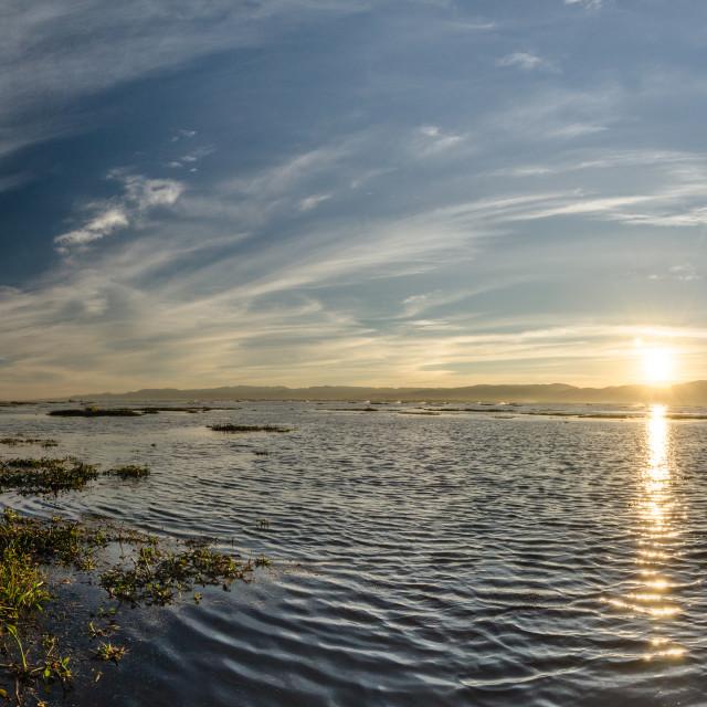 """Sunset over Inle lake, Myanmar"" stock image"