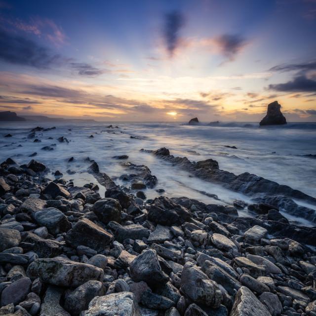 """""""Sunrise over Mupe Bay, Dorset, UK"""" stock image"""