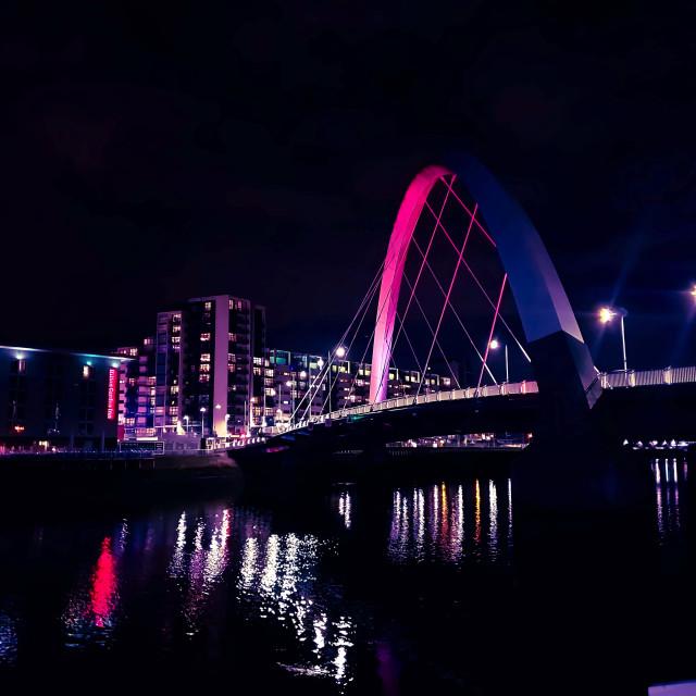 """Squinty Bridge at Night"" stock image"