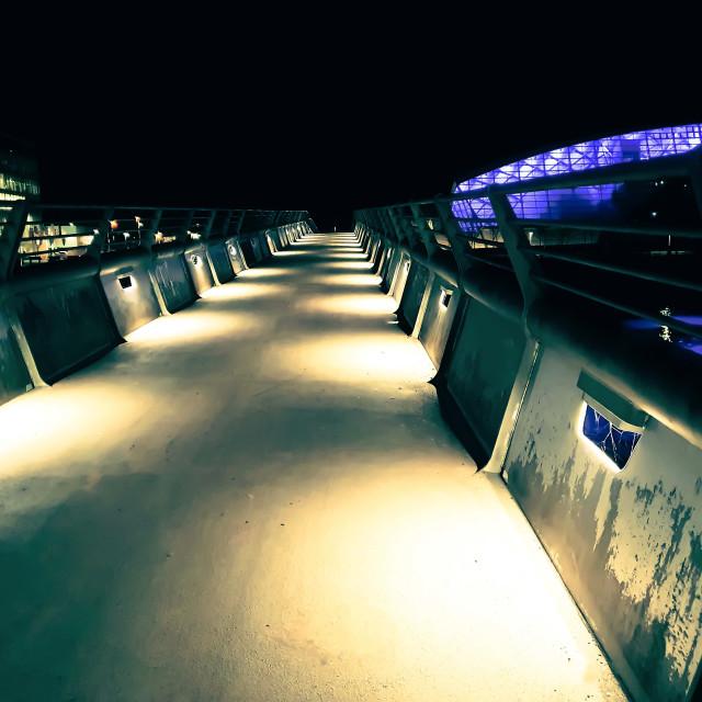 """A Walking Bridge on River Clyde Scotland"" stock image"