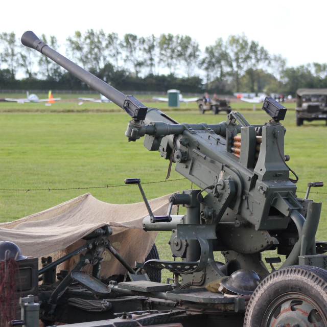 """Anti Aircraft Gun, World War II"" stock image"