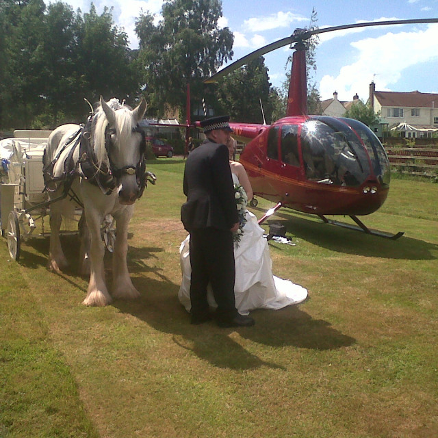 """""""Horse and Carriage, Helicopter, Wedding, Stoney Stanton 2010"""" stock image"""