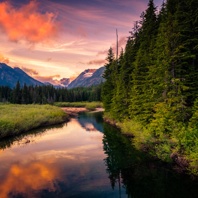 """""""Sunset In Snoqualmie"""" stock image"""