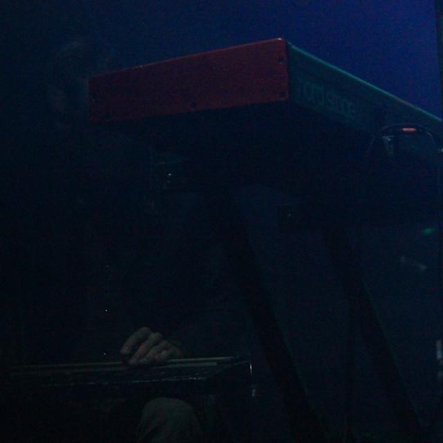"""Slide Guitar player next to Keyboard"" stock image"