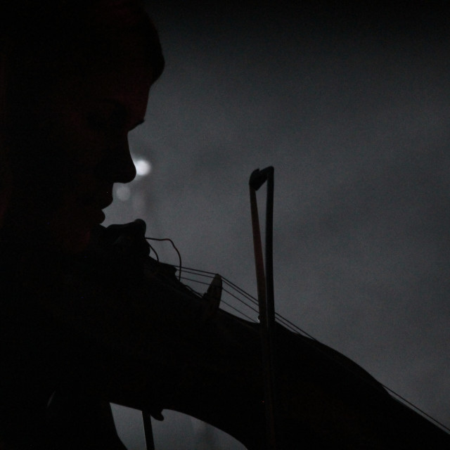 """""""Silhouette of Violin player"""" stock image"""