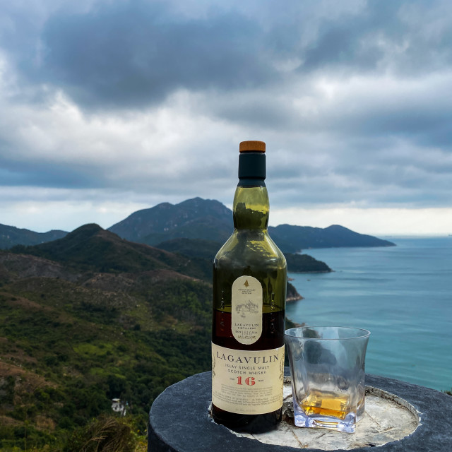 """""""Lagavulin 16 in the High Country"""" stock image"""