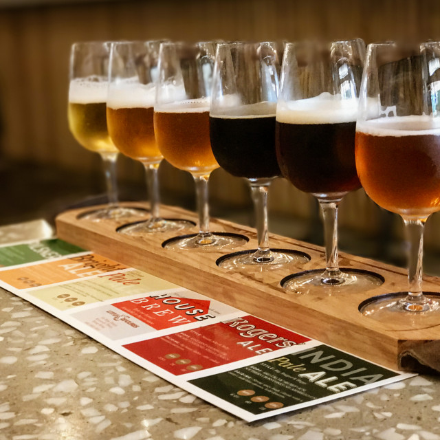 """""""Another Line of Tasters at Little Creatures"""" stock image"""