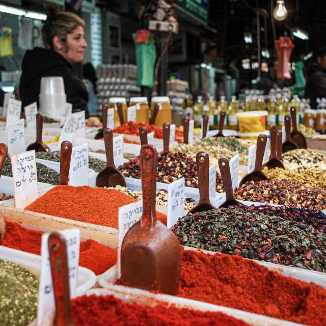 """Spice stall, HaKarmel Market, Israel"" stock image"