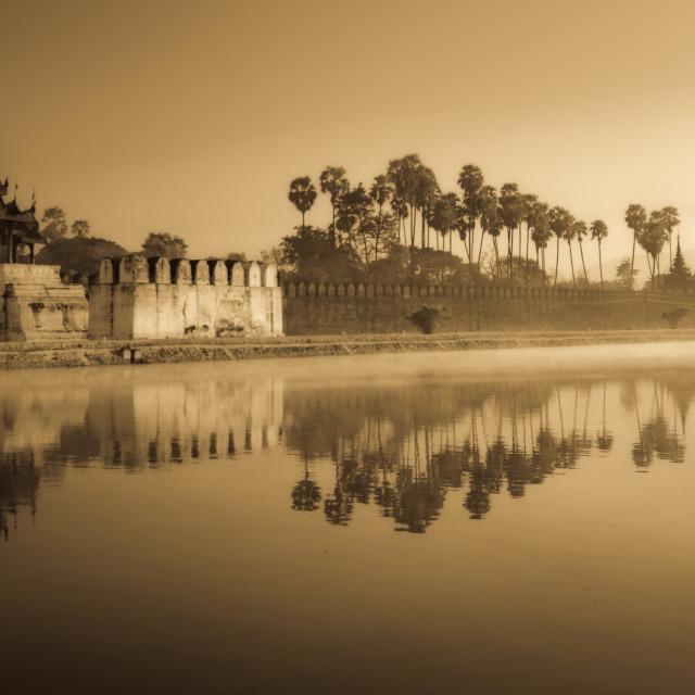 """""""Mandalay Kyune at dawn, Myanmar"""" stock image"""