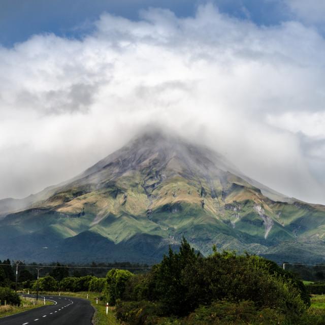 """""""Mount Taranaki, New Zealand"""" stock image"""