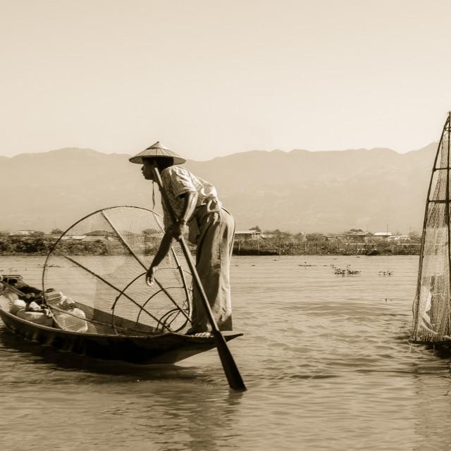 """Traditional fishermen, Inle Lake, Myanmar"" stock image"