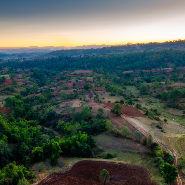 """""""Sunset over Myanmar valley"""" stock image"""