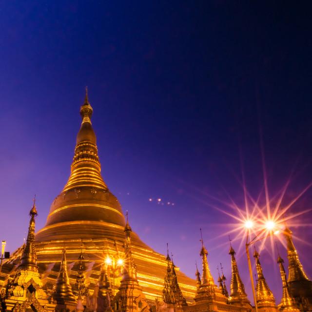 """""""Shwe Dagon Pagoda at night, Yangon, Myanmar"""" stock image"""