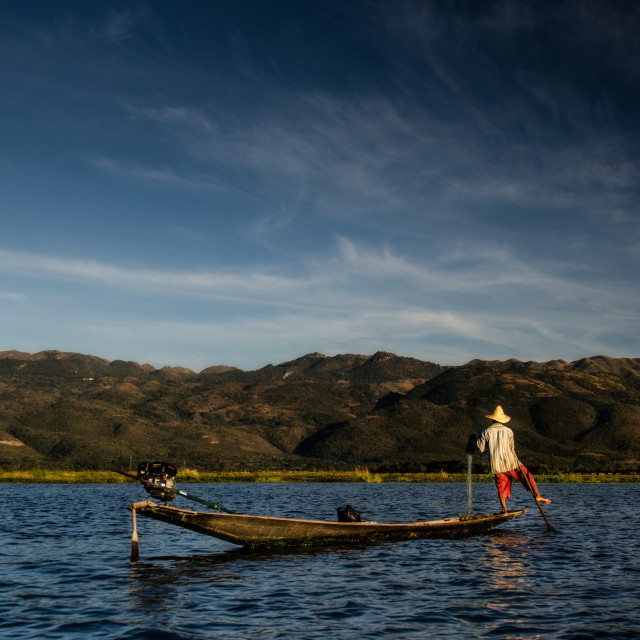 """Traditional fisherman, Inle lake, Myanmar"" stock image"