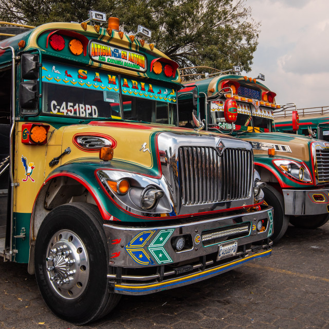 """Guatemala decorated buses"" stock image"