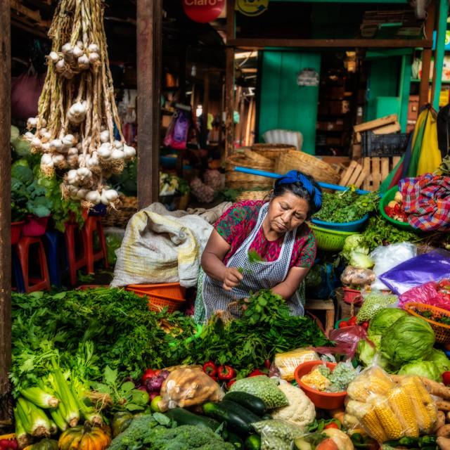 """Vegetable Merchant, Antigua, Guatemala"" stock image"