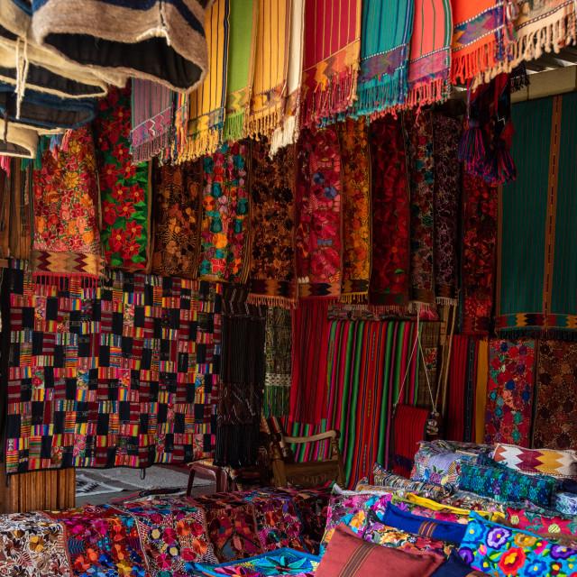 """""""Fabric stall, Guatemala"""" stock image"""