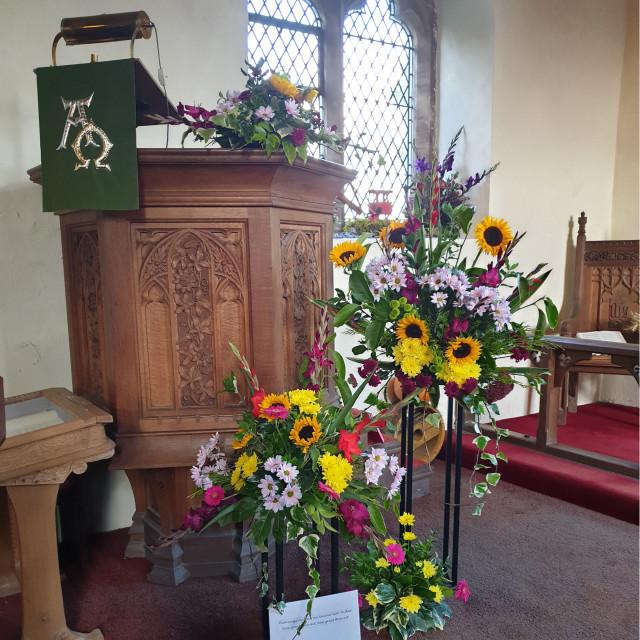 """Flower Festival, Stapleton Church, Hinckley, Leicestershire, October 2019"" stock image"