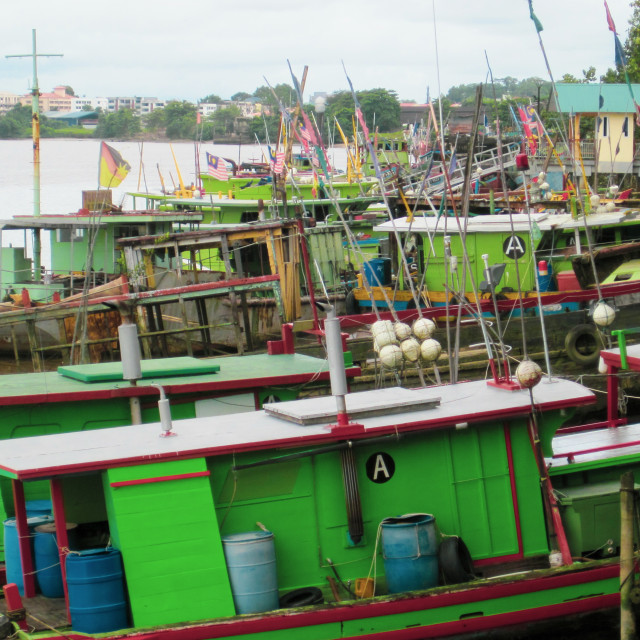 """Kuching Boat Scene"" stock image"