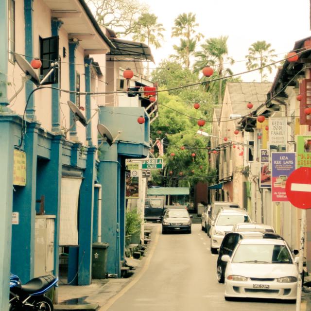"""Back Street Kuching"" stock image"