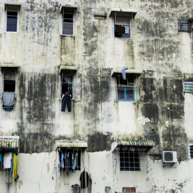 """Kuching Weathered Building"" stock image"