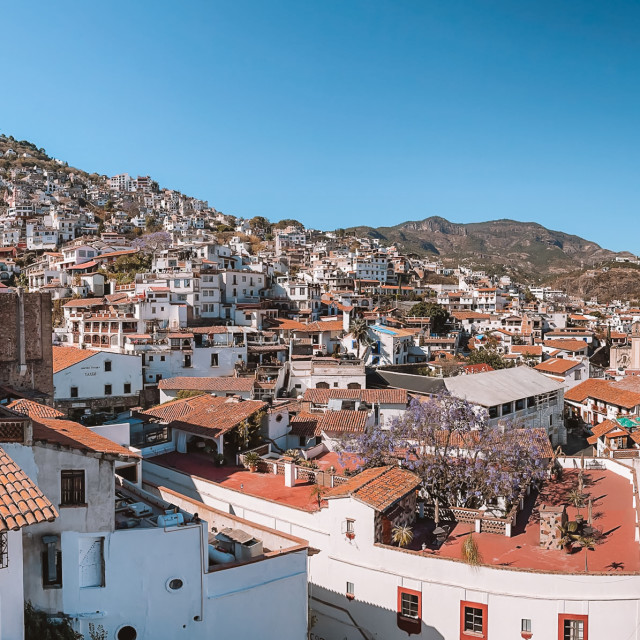 """Panoramic View of Taxco de Alarcon, Guerrero, Mexico"" stock image"