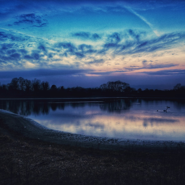 """Blue hour at Tring Reservoir"" stock image"