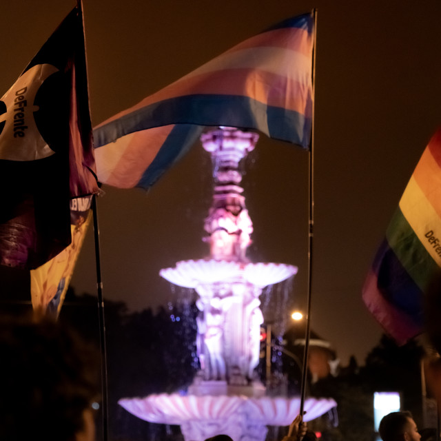 """""""And the fountain said Trans Rights"""" stock image"""