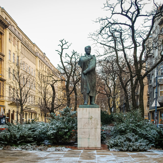 """""""Statue of Ady Endre, Budapest, Hungary"""" stock image"""