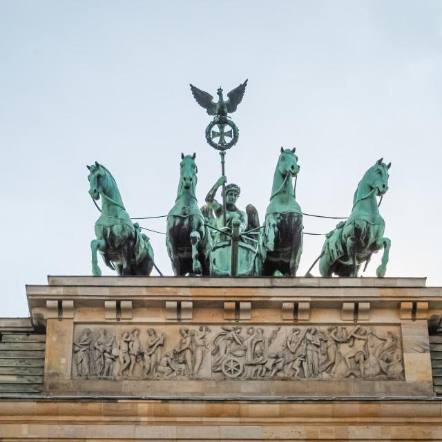 """The Quadriga at the top of Brandenburg Gate Berlin, Germany"" stock image"
