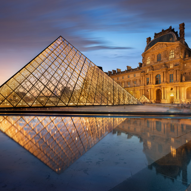 """""""The Louvre museum at sunset, Paris, France"""" stock image"""