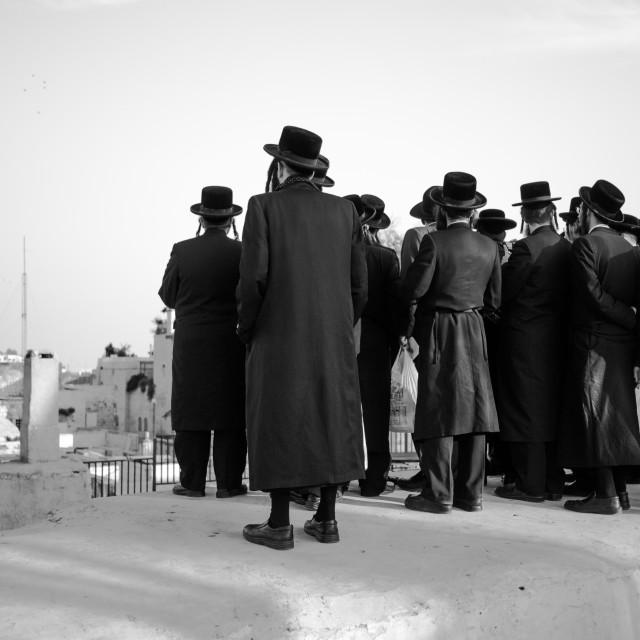 """Hasidic group in Jerusalem"" stock image"