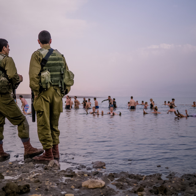 """""""IDF soldiers and swimmers"""" stock image"""