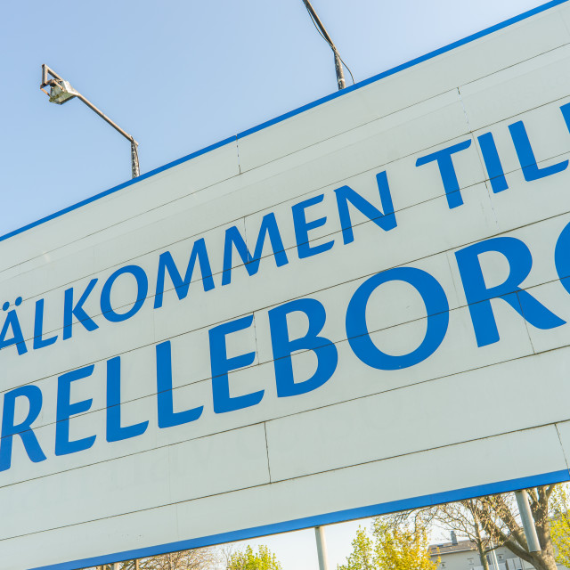 """""""Welcome to Trelleborg sign"""" stock image"""