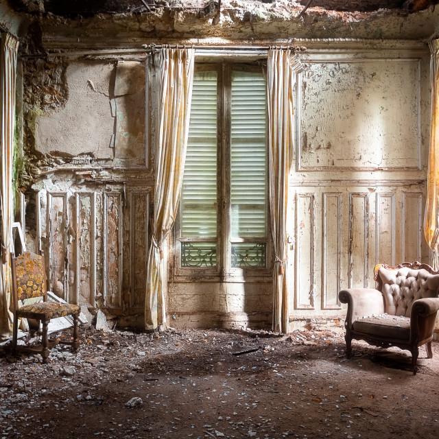 """Antique Chair in Derelict Room"" stock image"