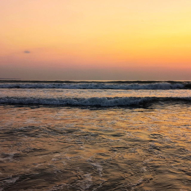 """Croyde Bay sunset"" stock image"