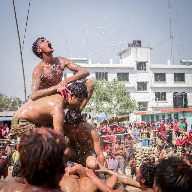 """""""The Holi competition"""" stock image"""