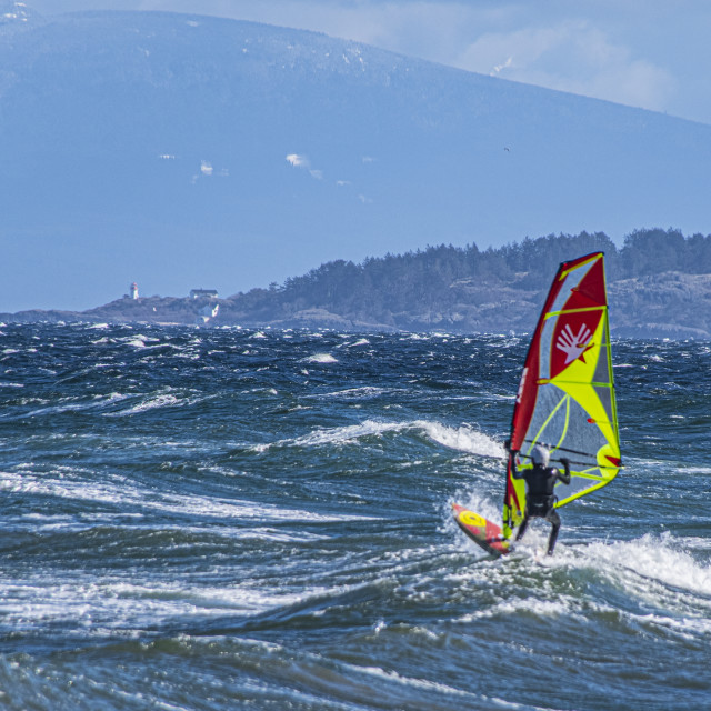 """Windsurfing in Parksville, BC"" stock image"