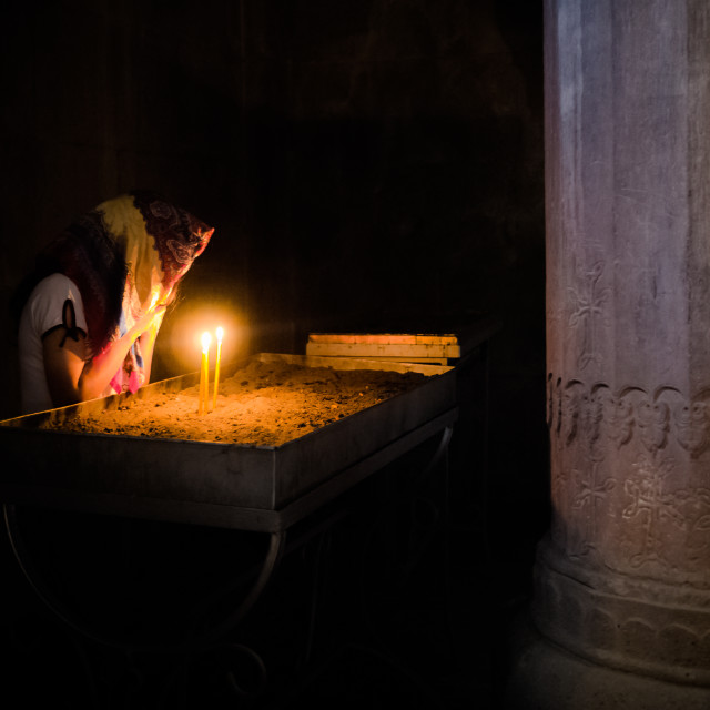 """""""A prayer in the monastery"""" stock image"""