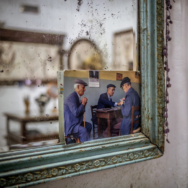 """""""Old mirror and postcard"""" stock image"""