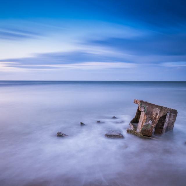 """Dusk over Cayton Bay, North Yorkshire"" stock image"