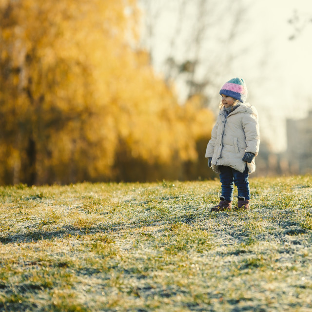 """""""young girl kid urban outdoor in winter"""" stock image"""