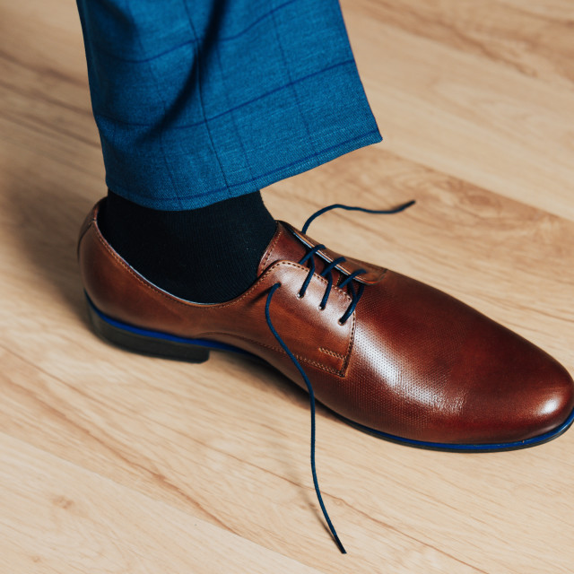 """""""brown new mens shoes on the floor"""" stock image"""