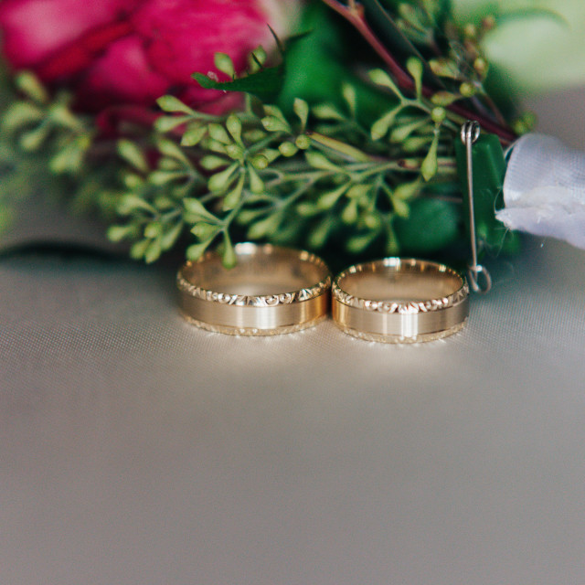 """""""weddings ring with the bunch of flower"""" stock image"""