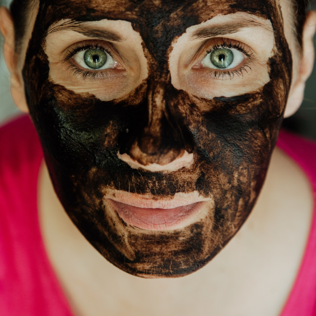 """""""chocolate mask on face made at home"""" stock image"""