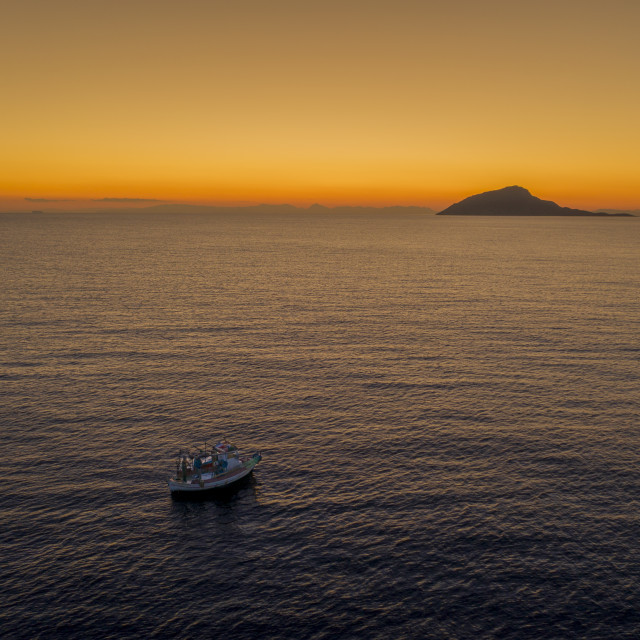 """""""Boat in Sounion"""" stock image"""