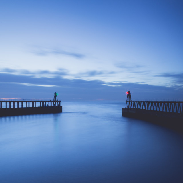 """""""Late Summer Blue Hour at Whitby, North Yorkshire"""" stock image"""