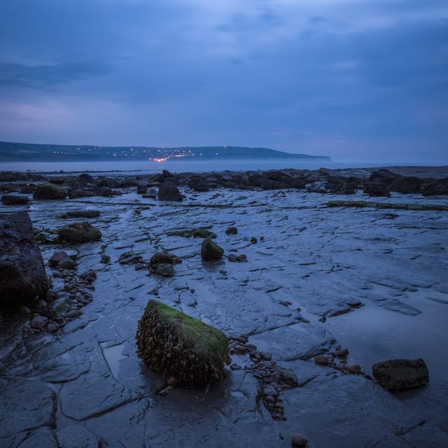 """Blue Hour at Ravenscar, North Yorkshire"" stock image"