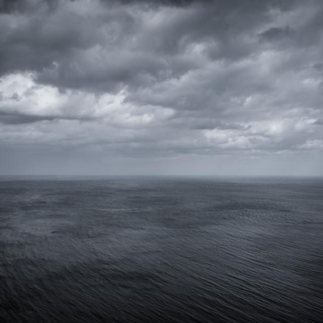 """A stormy North Sea at Ravenscar, North Yorkshire"" stock image"